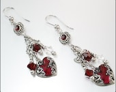 Red Heart Earrings, Valentines Earrings, Love Earrings, Red Crystal Earrings, January Birthstone Earrings