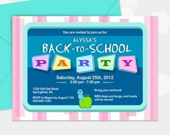 Back To School Invite Party Invitation - Customized - DIY Printable