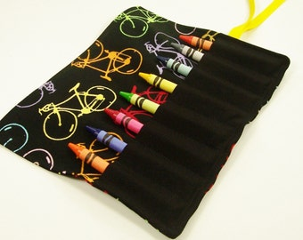 Crayon Roll Up - BICYCLES Crayon Roll - Stocking Stuffer - Kids