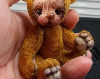 """Miniature SHABBY Fabric 4 """"Teddy Bear Pattern by Artists, Lyz and Chantal, Polymer clay face insertion."""