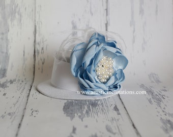 Something Blue - White Mini Top Hat with Blue Handmade Couture Flower, Girls Hat, Baby Hat, Women's Hat