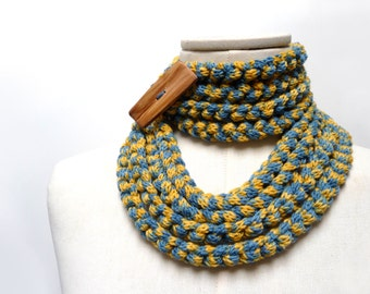 Knit Infinity Scarf Necklace, Loop Scarlette Neckwarmer - Mustard Yellow and Denim Blue with wood button - Handmade