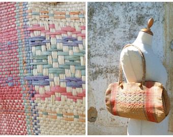 Vintage 1970/70s lovely braided staw handbag / bag / folk