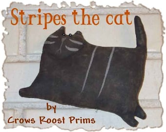 Primitive Stripes the cat 174e Crows Roost Prims ePattern  immediate download