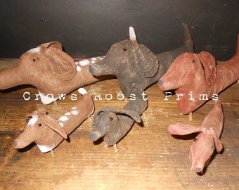 Dog large, small  ornament Crows Roost Prims 269e Primitive Dachshund Weiner epattern  SALE immediate download
