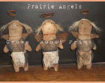 Primitive Prairie Angel ornament, bowl filler, tuck 332e Crows Roost Prims epattern immediate download