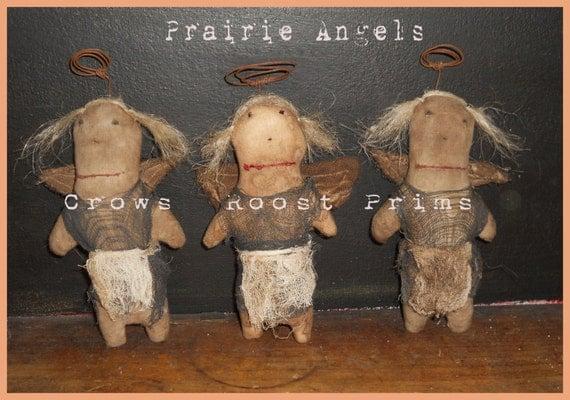 332e Primitive Prairie Angel ornament, bowl filler, tuck epattern immediate download