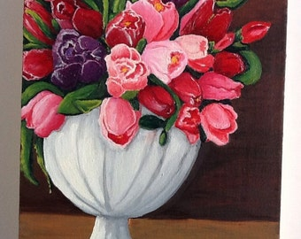 Bouquet of Tulips Original Oil Painting