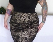 Golden Black Lace Pencil Skirt Plus Size
