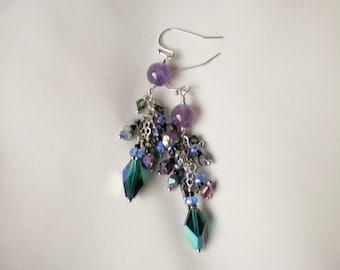 Beaded Chandelier Earrings With Amethyst