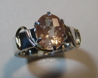 Fancy Checkerboard top Oregon Sunstone  Ring ... Sterling Silver and 14 kt Yellow Gold ...  Size 7   or size  N 1/2 for my UK friends. e667