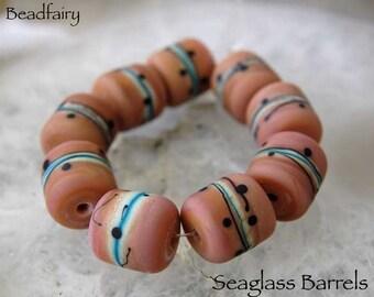 9 Sea Glass Barrels , Organic Lampwork Beads , glass beads by Beadfairy Lampwork, SRA