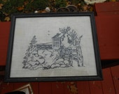 Black and White Framed Needlepoint Picture- Rustic Vintage