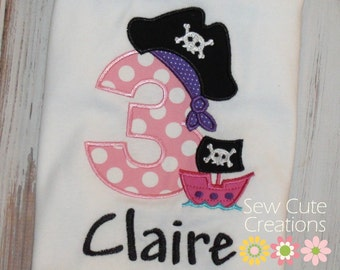 Pirate Birthday Shirt, Girl Pirate Shirt, Boy Pirate shirt, Girl Birthday Pirate shirt, Boy Pirate birthday shirt, sew cute creations