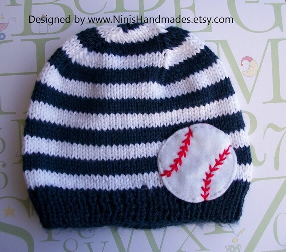 Knit Baby Beanie with BASEBALL applique Made in by NinisHandmades