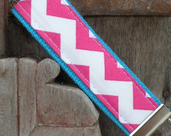 Key Chain-Key Fob-Wristlet- Hot Pink Chevron On Turq-READY TO SHIP