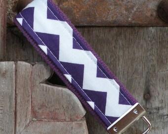 READY TO SHIP-Beautiful Key Fob/Keychain/Wristlet-Purple Chevron on Purple