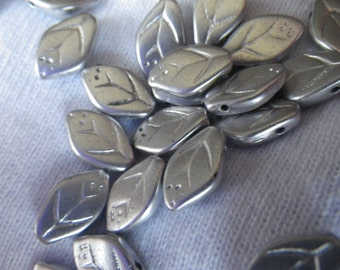 Matte Silver Pressed Glass Leaf Beads 12x7mm Top Drilled 25 Pcs