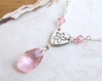 Pink Crystal Necklace Silver Handmade Link Flower Charm Light Pink Crystal Pendant Romantic Necklace Sterling Silver Pink Necklace Swarovski