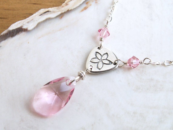 Pink Crystal Necklace Silver Handmade Link Flower Charm Light Pink Crystal Pendant Simple Necklace Elegant Sterling Silver Pink Necklace