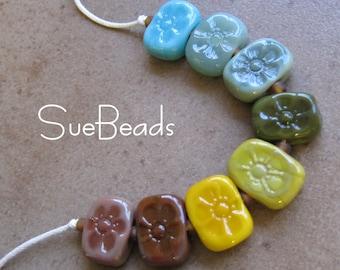 Lampwork Beads - SueBeads - Bohemian Flower chicklet bead set - Handmade Lampwork Beads - SRA M67