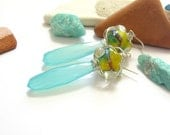Glass Bead Earrings with Aqua Blue Chalcedony drop gemstones and fine silver wire wrap