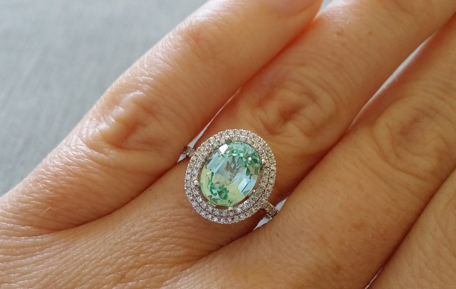 Oval Halo Mint Blue Green Paraiba Tourmaline Diamond Ring