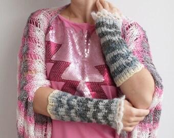 SALE-Ivory, grey striped Fingerless Gloves---wrist warmers---handmade---knitted gloves