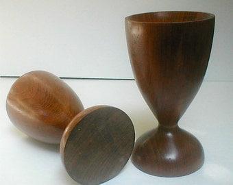 Danish Modern Candle Holder Pair Teak Wood  Mid Century Scandinavian Design Turned Wood Goblet Shape Classic Mid Century Tableware