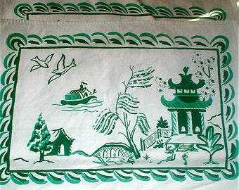 Asian Garden Theme Napkin  or Placemat Set of 6 - Vintage 40s Kitchen Cotton Cuties Luncheon Size Table Cloths