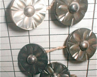 5 Antique Mother of Pearl Shank Button -  Victorian 1900s Steel Center Carved MOP Sewing Notion