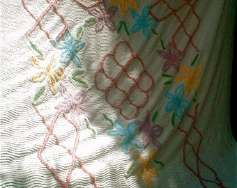 Flowered Chennile Bedspread -  White with Multi Colored Blooms Vintage 50s  Twin Bed Sized - Cottage Chic