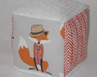 Gray Fox Fabric Block Rattle