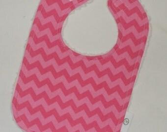 Bright Tone-On-Tone Pink Small Chevron and Chenille Bib