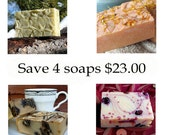 goat milk soap set  - 4 soaps one great price