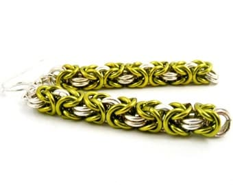 Chartreuse Chainmaille Earrings, Green Dangle Earring, Handmade Chainmail Jewelry
