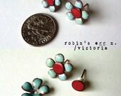 Artisan made flowers 2 in 1 interchangeable torch fired enamel post stud style earrings.
