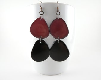 Merlot and Black Noir Tagua Nut Eco Friendly Earrings with Free USA Shipping #taguanut #ecofriendlyjewelry