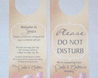 Hotel Door Hangers - PINK and GREY BEACH - Nautical - Double Sided for Out of Town Destination Wedding Guests - Do Not Disturb