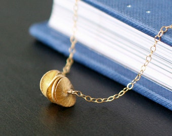 satellites - textured gold necklace by elephantine