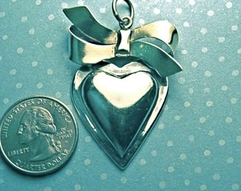 Sale: XL Vintage Sterling Heart Pendant, Beautiful with a Bow