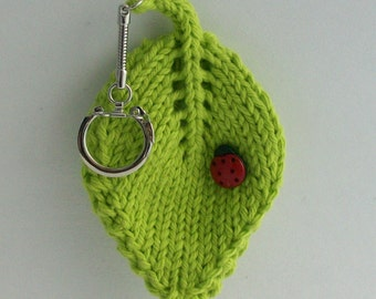 Keychain Hand Knit Lucky Ladybug Ladybird on a Leaf Hot Green Cotton