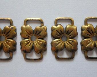 Vintage Oxidized Brass Flower Connectors