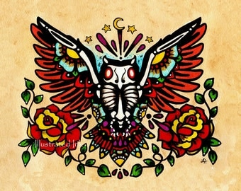 Day of the Dead OWL Old School Tattoo Art Print 5 x 7, 8 x 10 or 11 x 14