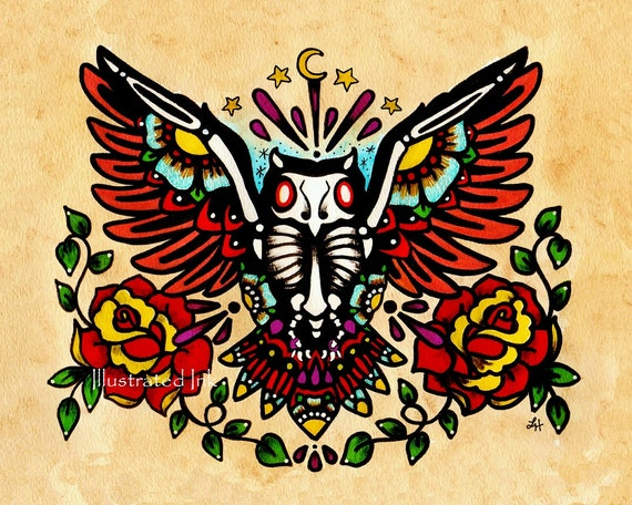 day of the dead owl old school tattoo art print 5 x 7 8 x 10