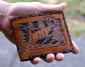 Men's Wallet- Men's Leather Wallet-Tooled Deer Buck Leather Wallet-Men's Outdoorsman Hunter Tooled Wallet-Men's Leather Wallet- Men's Wallet
