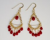 genuine red ruby and 14kt  gold filled and duroplated chandelier earrings - July birthstone