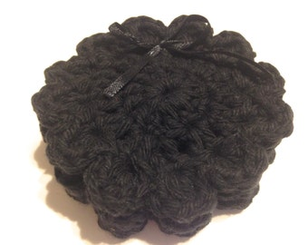 Black Crocheted Face Scrubbies-Miniature Trio