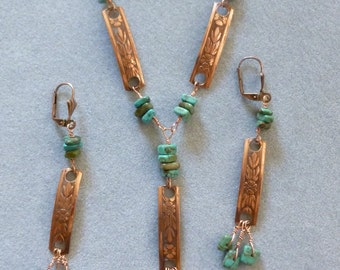 salvaged recycled upcycled copper necklace and earrings turquoise chips wire wrapped