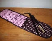 Curling Iron Case / Flat Iron Cover (Insulated) For Travel, Storage or the Gym - Michael Miller Dumb Dots - Pink and Brown